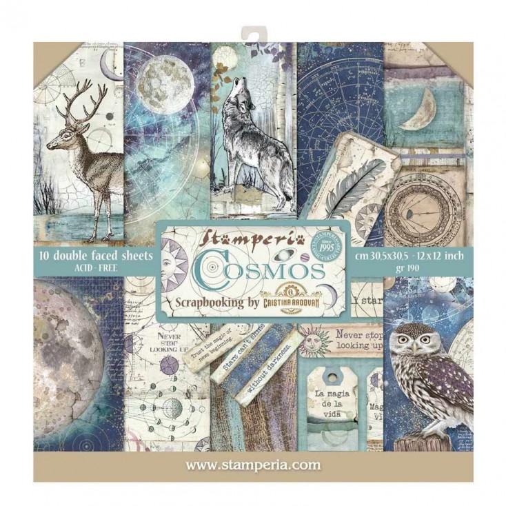 SBBL56 Zestaw papierów do tworzenia kartek i scrapbookingu - Stamperia - Cosmos