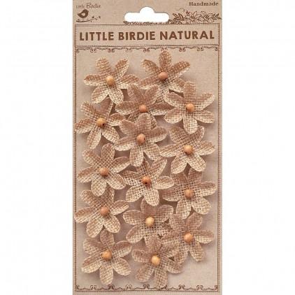 CR79291 scrapbooking jute flowers - Little Birdie - Burlap Beaded Fancies Natural