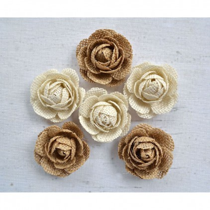 CR61492 scrapbooking jute flowers - Little Birdie - Burlap Rosalie