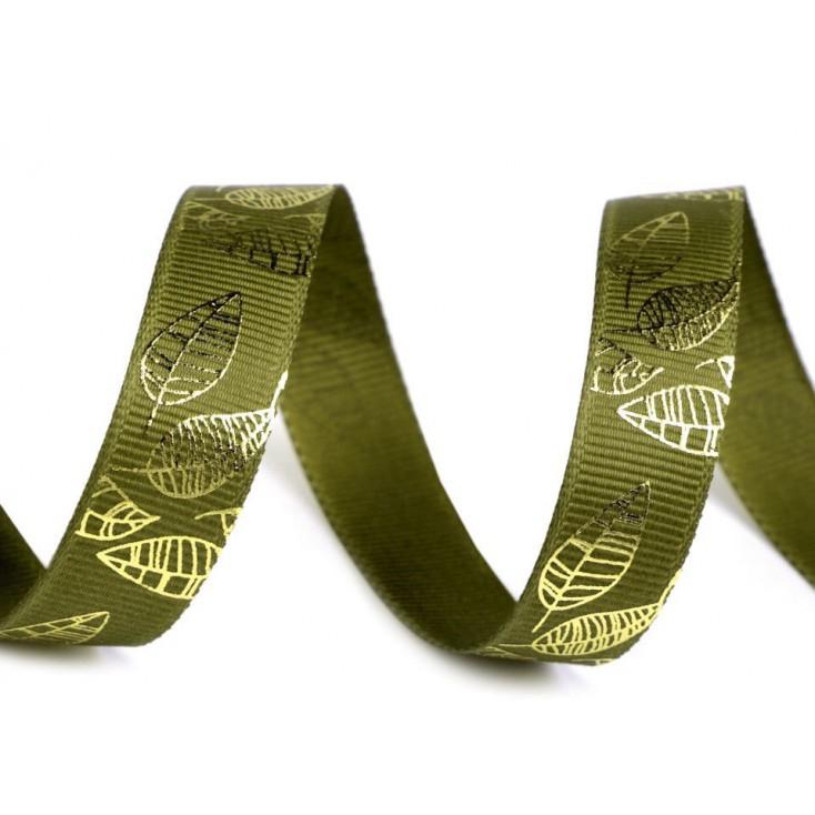 Grosgrain ribbon- golden leaves -1,5 cm - 1 meter - green