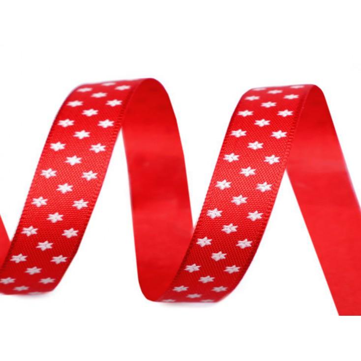 Wstążka - gwiazdki 1,4 cm - 1 metr - czerwona