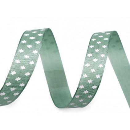 Wstążka - gwiazdki 1,4 cm - 1 metr - zielona