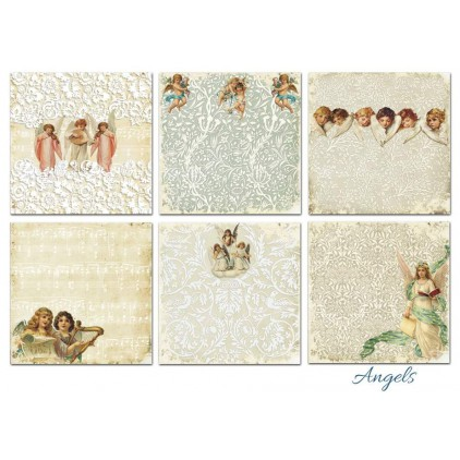 Decorer - Set of scrapbooking papers 20x20cm - Angels