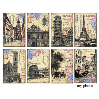 Decorer - Set of mini scrapbooking papers - My Places