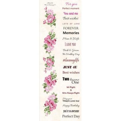 Papier skrap - pasek z elementami do wycięcia - Angielskie napisy - Flower Harmony 13 - Altair Art Alt-FH-113