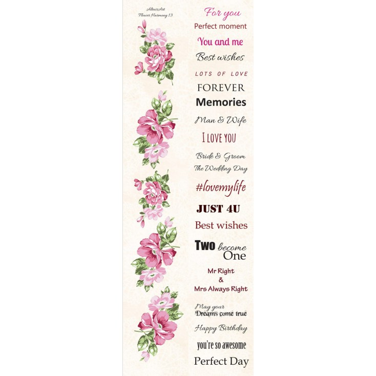 Paper stripe with elements to cut out - English subtitles - Flower Harmony 13 - Altair Art Alt-FH-113