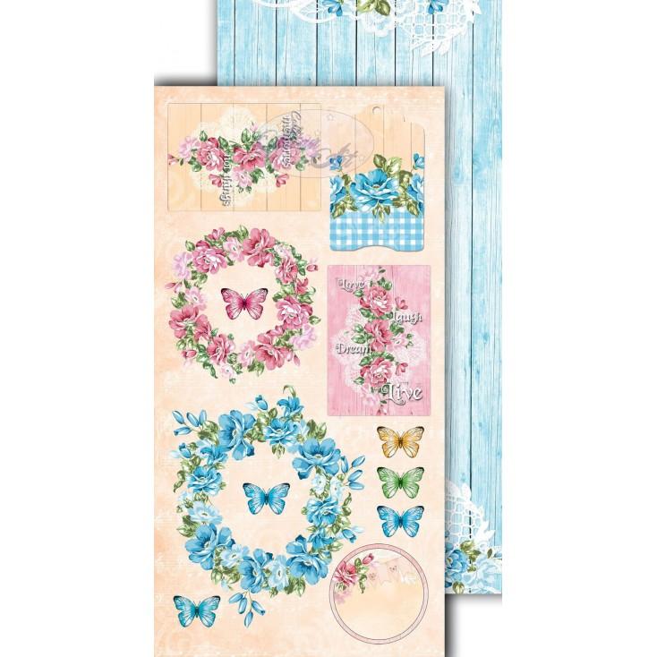 Scrapbooking paper 30x15cm - Flower Harmony 08 - Altair Art Alt-FH-108