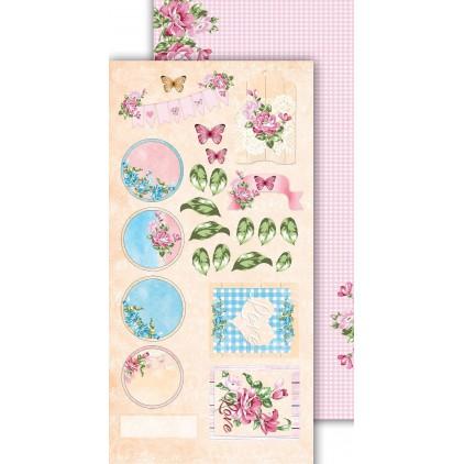 Scrapbooking paper 30x15cm - Flower Harmony 07 - Altair Art Alt-FH-107