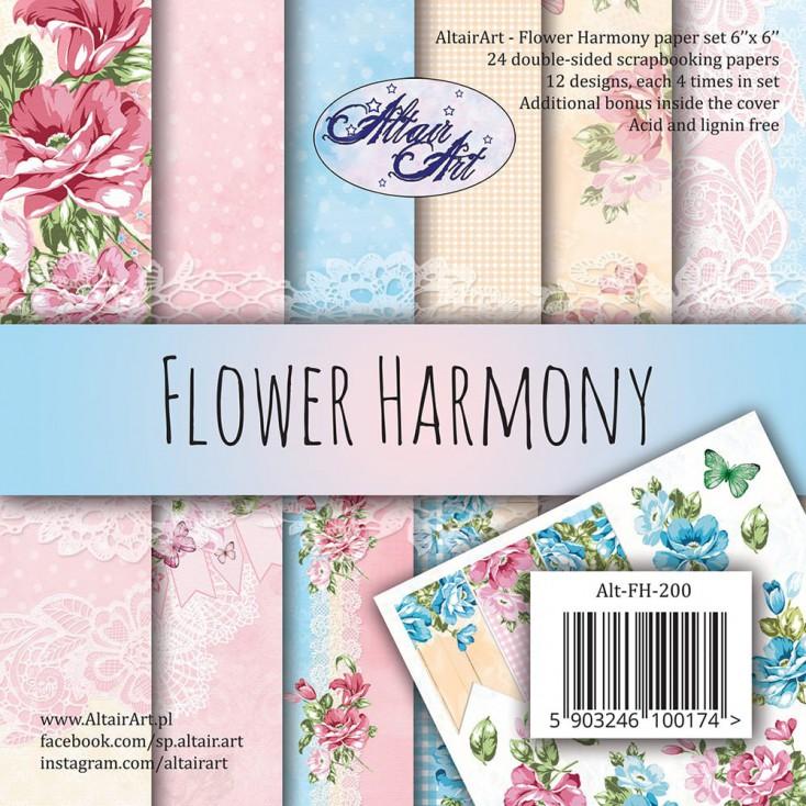 Scrapbooking paper pad 15x15cm - Flower Harmony - Altair Art Alt-FH-200