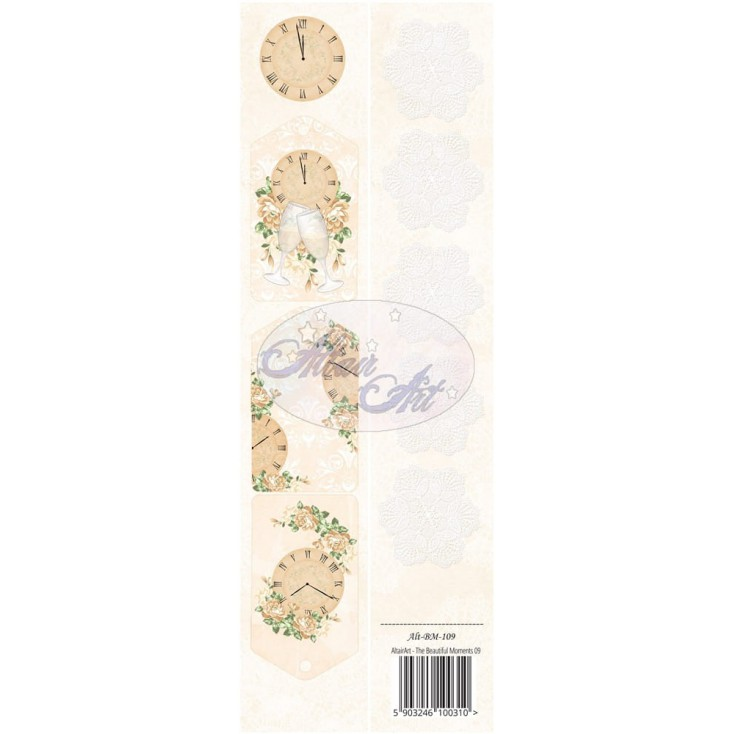 Papier scrap - pasek z elementami do wycięcia - The beautiful moments 09 - Altair Art Alt-BM-109