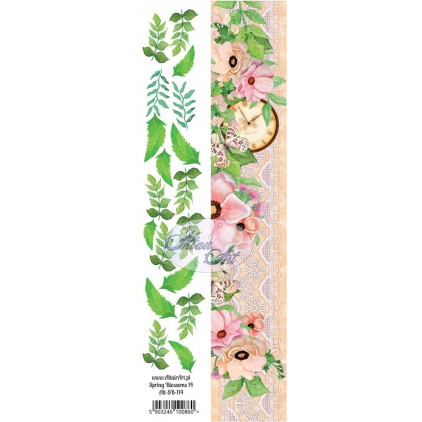 Paper stripe with elements to cut out - Spring Blossoms 14 - Altair Art Alt-SB114