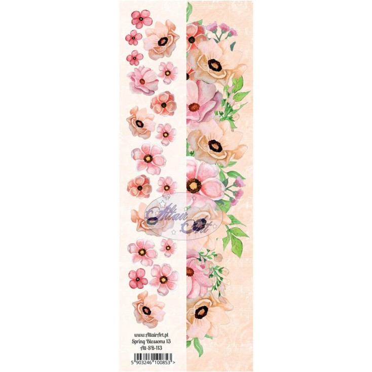 Paper stripe with elements to cut out - Spring Blossoms 13 - Altair Art Alt-SB113