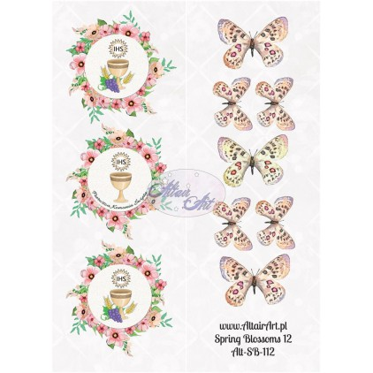 Papier scrap - pasek z elementami do wycięcia - Spring Blossoms 12 - Altair Art Alt-SB112
