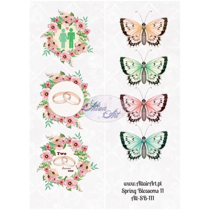 Papier scrap - pasek z elementami do wycięcia - Spring Blossoms 11 - Altair Art Alt-SB111