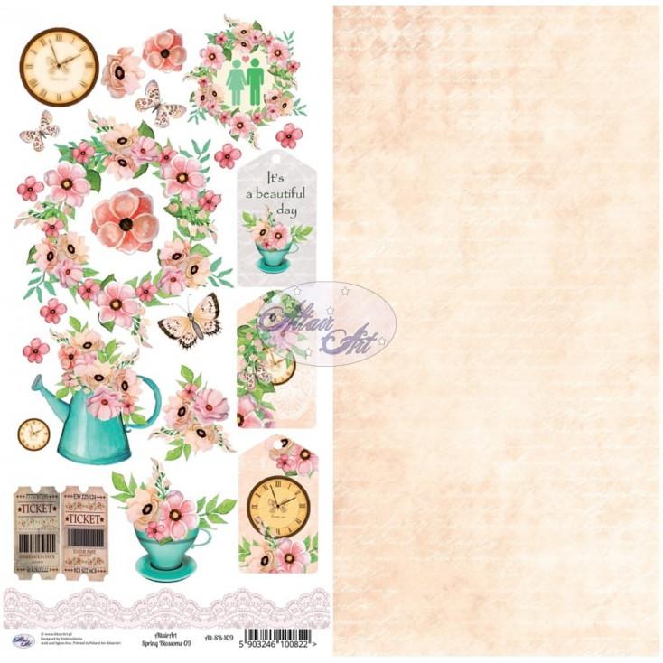 Scrapbooking paper 30x15cm - Spring Blossoms 09 - Altair Art Alt-SB-109