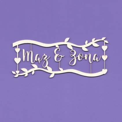 1193 - tekturka napis Mąż & Żona z gałązkami Crafty Moly