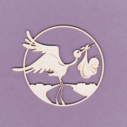 873 - laser cut, chipboard stork engraver Crafty Moly