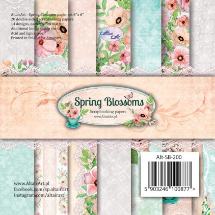 Bloczek papierów 15x15cm - Spring Blossoms - Altair Art Alt-SB-200