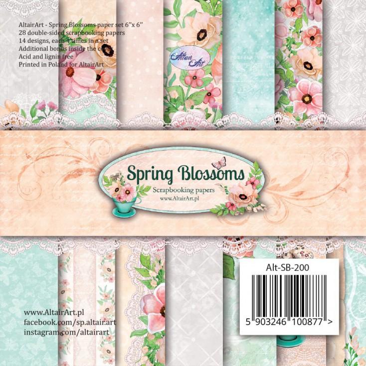 Scrapbooking paper pad 15x15cm - Spring Blossoms - Altair Art Alt-SB-200
