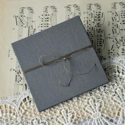 Baza albumowa harmonijkowa okładka szare płtótno, karty szare - 13,5 x 13,5 - Eco-scrapbooking
