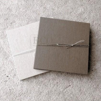 Baza albumowa harmonijkowa okładka naturalne płtótno, karty szare - 13,5 x 13,5 - Eco-scrapbooking