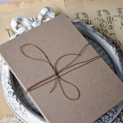 Baza albumowa harmonijkowa okładka naturalne płtótno, karty szare - 14,5 x 19,5 - Eco-scrapbooking