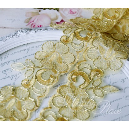 Embroidered lace on monofilament with gold thread - widh 58mm - 1 meter