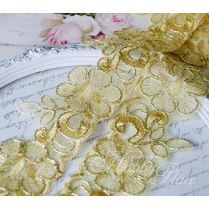 Koronka wyszywana na monofilu ze złotą nitką - szerokość 58mm - 1 metr