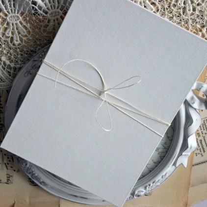 Baza albumowa harmonijkowa okładka biała płtótno, karty szare - 22,5 x 16,5 - Eco-scrapbooking