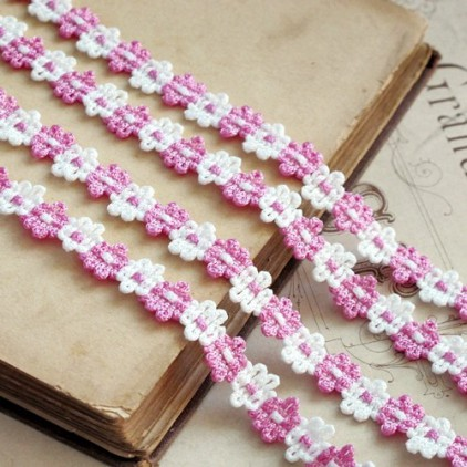 Decorative lace trim - white-pink - 1 meter