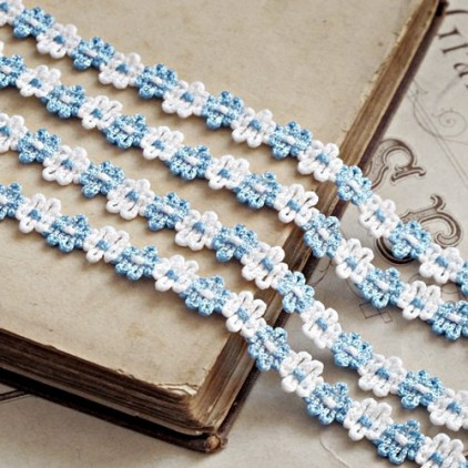 Decorative lace trim - white-blue - 1 meter