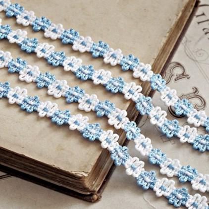 Decorative lace trim - white-blue - 1 meter