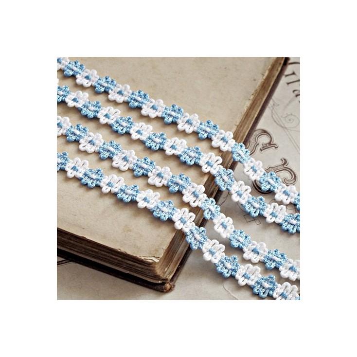 Koronka ozdobna - plecione kwiatuszki - biało-błękitna - 1 metr