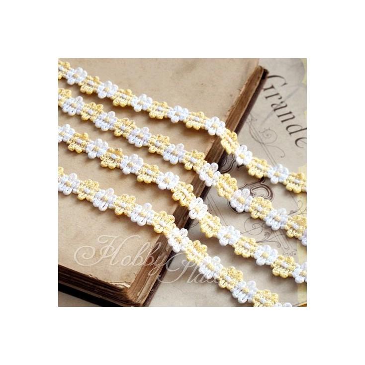 Koronka ozdobna - plecione kwiatuszki - biało-waniliowa - 1 metr