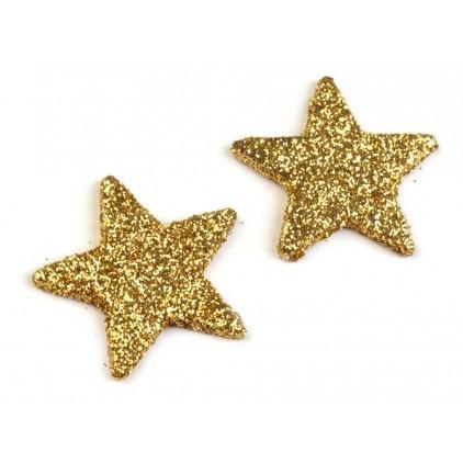 Gwiazdki brokatowe złote 3cm