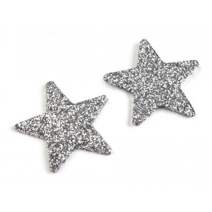 Gwiazdki brokatowe srebrne 3cm