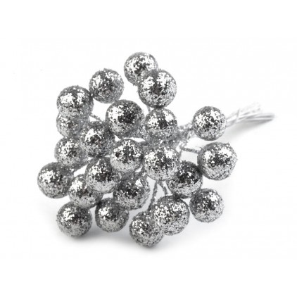 Mini bombki na druciku brokatowe srebrne 12 mm