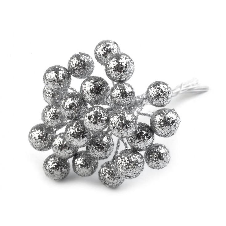Mini baubles on silver glitter wire 12 mm