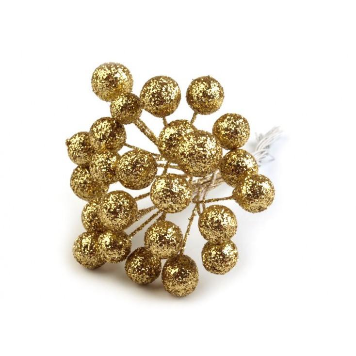 Mini bombki na druciku brokatowe złote 12 mm
