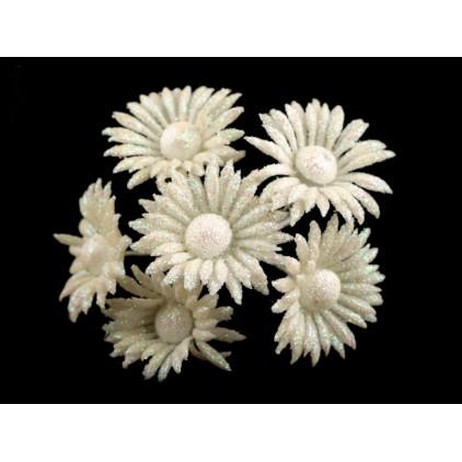 Kwiatki brokatowe białe margaretki