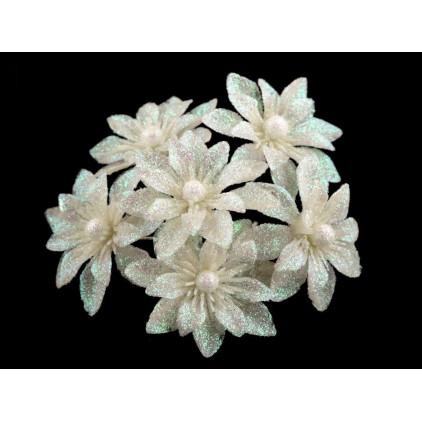 Kwiatki brokatowe białe dalie