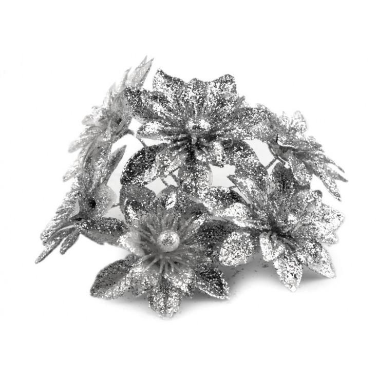 Kwiatki brokatowe srebrne dalie