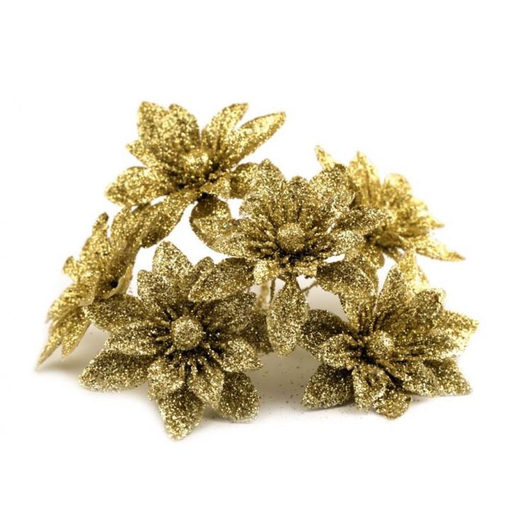 Kwiatki brokatowe złote dalie