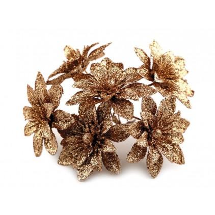 Kwiatki brokatowe miedziane dalie