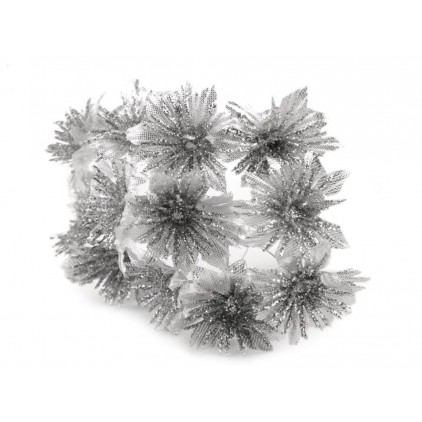 Brocade flowers silver chrysanthemum