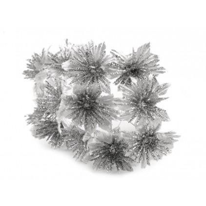 Kwiatki brokatowe srebrne chryzantemy
