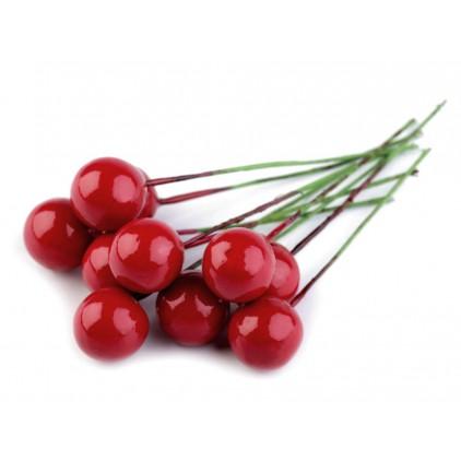 Jarzębina dekoracyjna czerwona, czerwone małe kulki na zielonym druciku