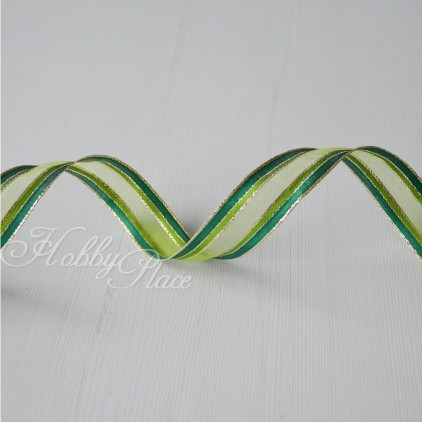 Green ribbon with golden stripes