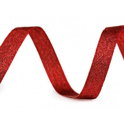 Wstążka błyszcząca czerwona z lureksem