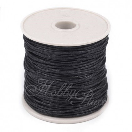 Cotton Waxed Cord - Ø1mm - one spool - black